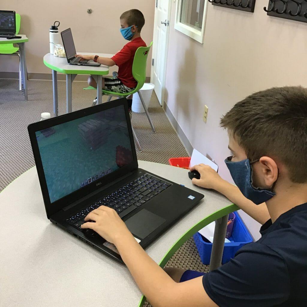student attending online school
